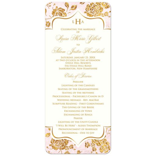 Blush pink, ivory and gold floral wedding program or Order of Service.