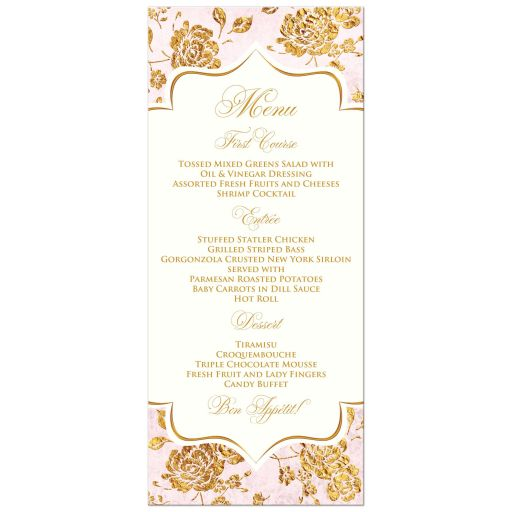 Monogrammed blush pink, ivory and gold floral wedding menu card.