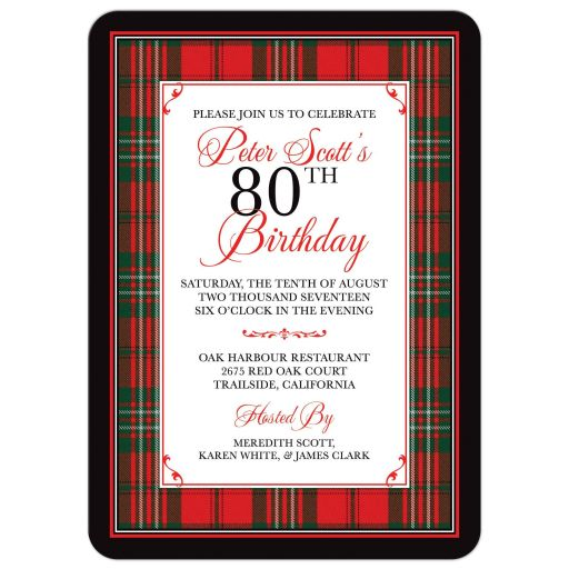 Scottish clan Scott tartan 80th birthday invitation front