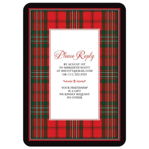 Scottish clan Scott tartan 80th birthday invitation back