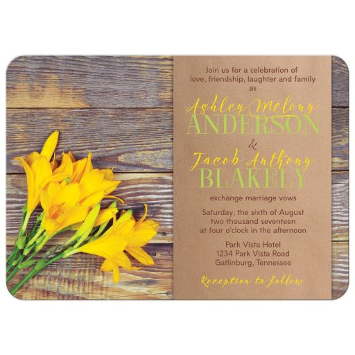Yellow lily flower on rustic wood wedding invitation