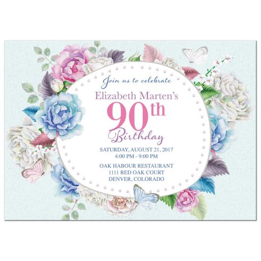 Watercolor floral rose, peony, butterfly 90th birthday invitation front