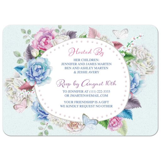 Watercolor floral rose, peony, butterfly 90th birthday invitation back