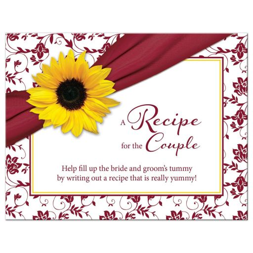 Fall sunflower and ribbon bridal shower recipe card in burgundy, yellow, and white front