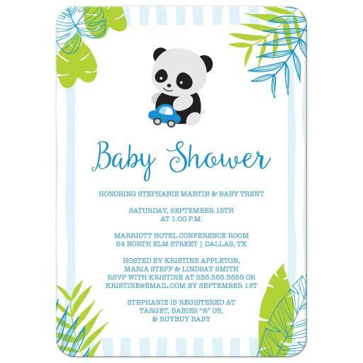Tropical Panda Boy Baby Shower Invitation