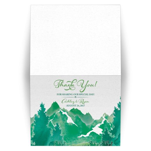 Shades of green watercolor painting style mountain personalized wedding thank you card