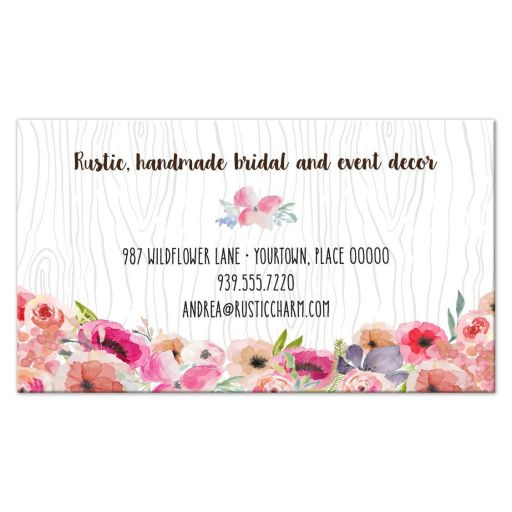 Rustic Watercolor Wildflowers and Antlers Faux Bois Business Card