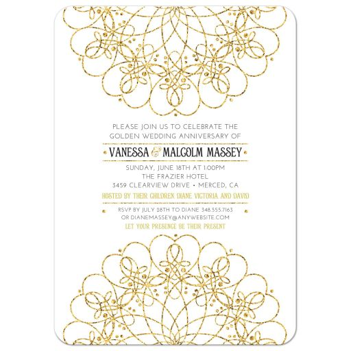 Golden Mandala 50th Wedding Anniversary Invitation | Gold Glitter Look