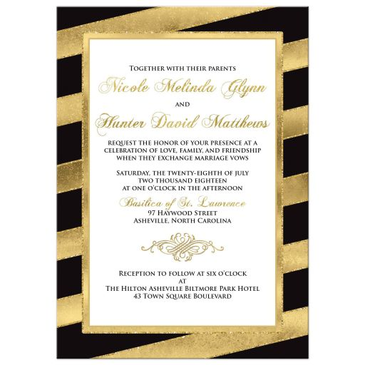 Black, white and gold glitter striped wedding invite with ornate scroll.