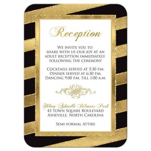 Black, white and gold foil and gold glitter striped wedding reception enclosure card insert with ornate scroll.