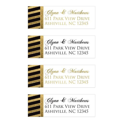 Personalized black and simulated gold diagonal striped return address mailing labels with simulated glitter and white text area with customizable font color text.