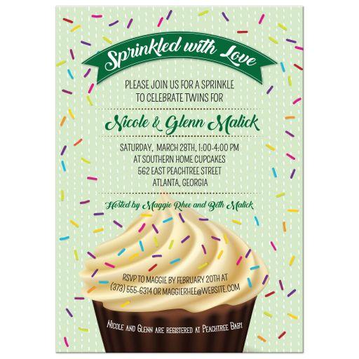 Chocolate Cupcake Green Baby Sprinkle Shower Invitation