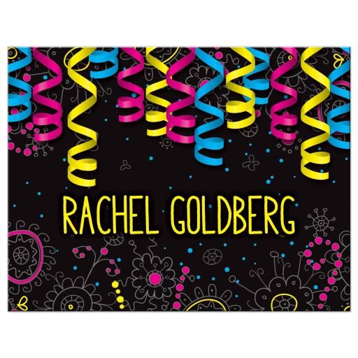 Neon colors glow in the dark style glow party Bat Mitzvah thank you card with curly ribbons and doodles front