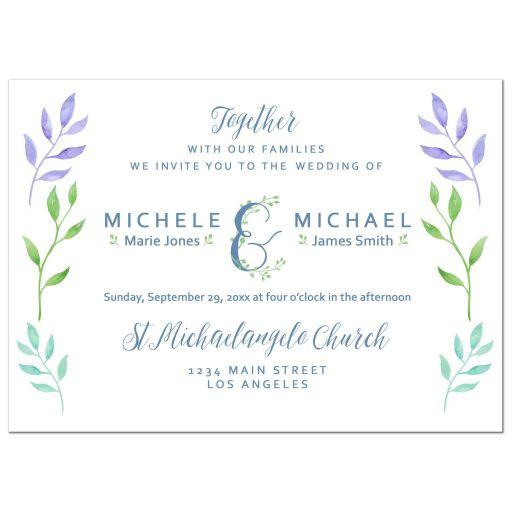 Elegant watercolor leaves wedding invitation