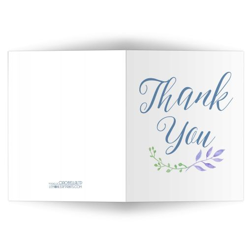 Watercolor Leaves Scripted Thank You Card