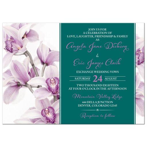 Purple Teal Orchid Wedding Invitation