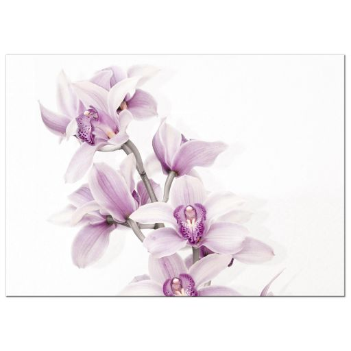 Elegant purple teal Cymbidium orchid wedding invitation landscape back