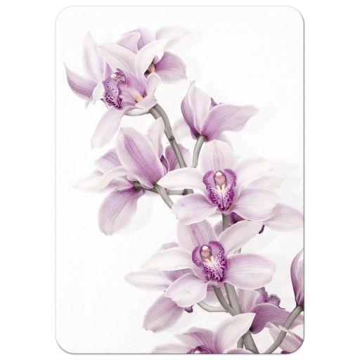 Elegant purple teal Cymbidium orchid wedding invitation portrait back