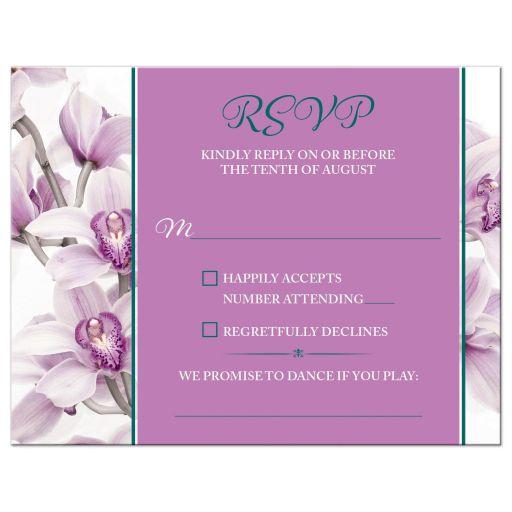 Elegant purple teal orchid wedding rsvp card front