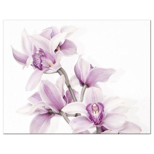 Elegant purple teal orchid wedding rsvp card back