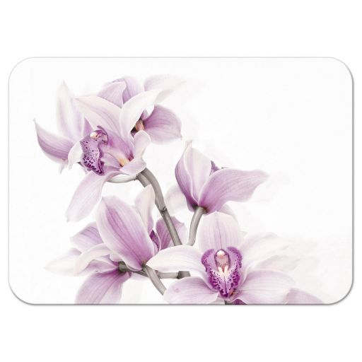 Elegant purple teal orchid wedding reception insert card back