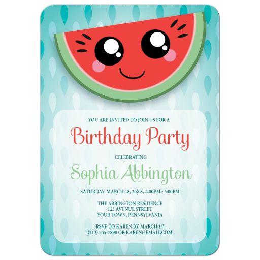 Birthday Party Invitations - Happy Smiling Watermelon Slice