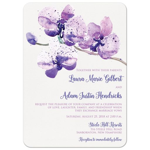 Purple, pink and white orchid watercolor wedding invitation with flower branch.