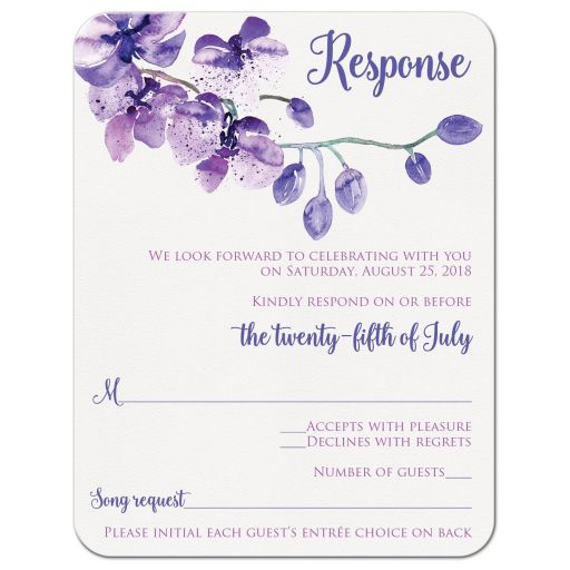 Purple, pink and white orchid watercolor wedding RSVP enclosure card insert with flower branch and flower buds.