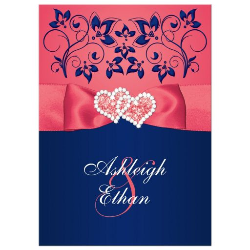 Coral Colored Wedding Invitations: Coral Pink And Navy Floral Joined Hearts, PRINTED Ribbon