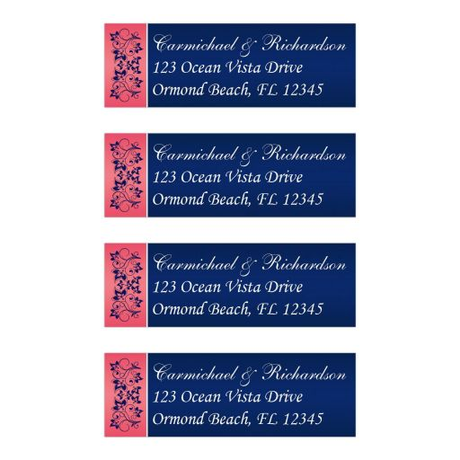 Elegant, personalized return address mailing labels in coral pink, navy blue, and white floral.
