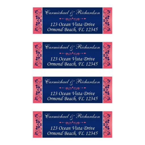 Elegant, personalized return address mailing labels in coral pink, navy blue, and white floral with ornate scroll.