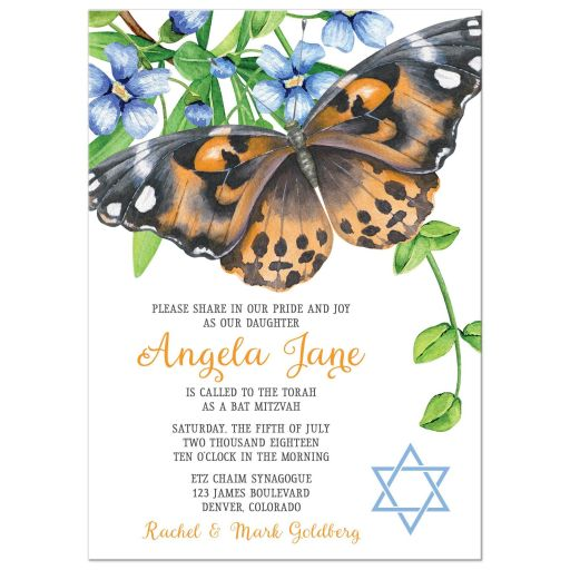Orange and blue butterfly floral Bat Mitzvah invitation flowers leaves
