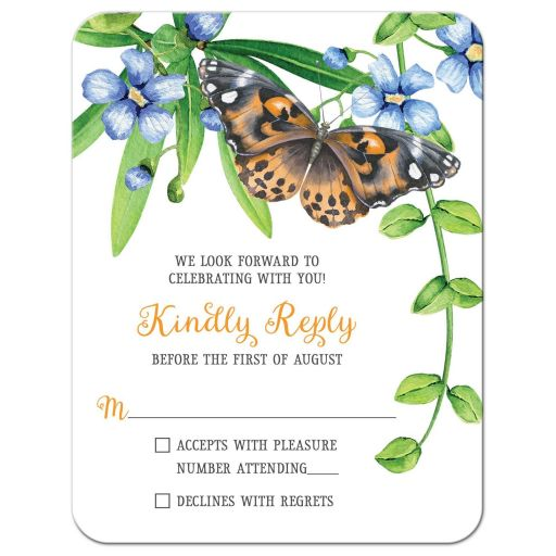 Orange and blue butterfly floral Bat Mitzvah RSVP card flowers leaves