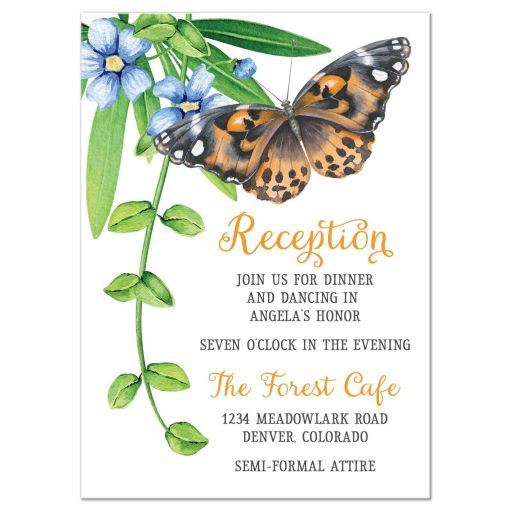 Orange and blue floral and butterfly Bat Mitzvah reception card flowers leaves