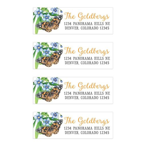 Bat Mitzvah Address Labels Orange Butterfly Blue Flowers Green Foliage
