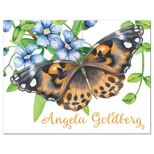 Bat Mitzvah Flat Thank You Card Orange Butterfly Blue Flowers Green Foliage