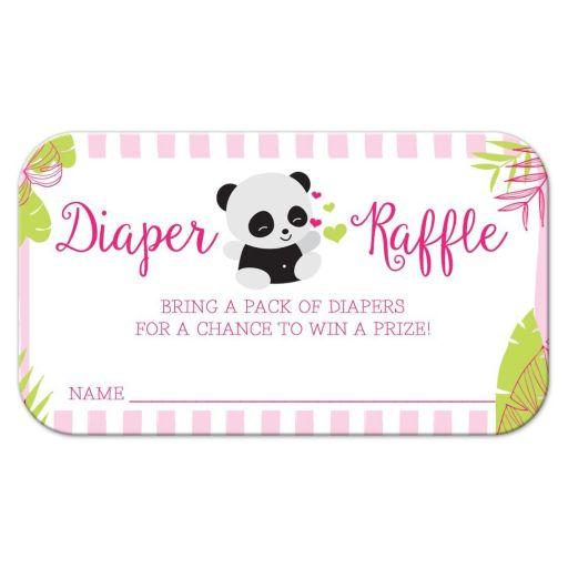 Pink Tropical Panda Baby Shower Diaper Raffle Cards