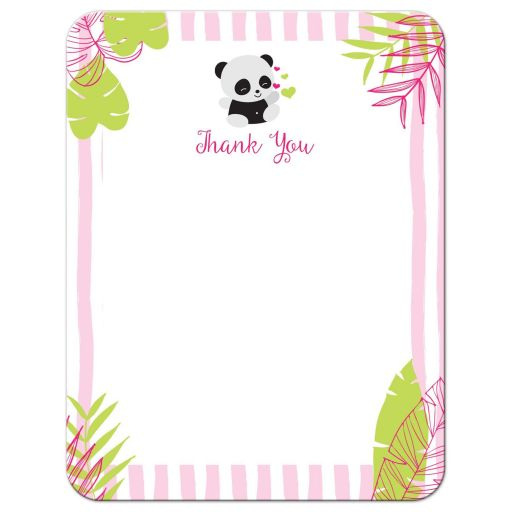 Pink and Green Tropical Panda Thank You Cards
