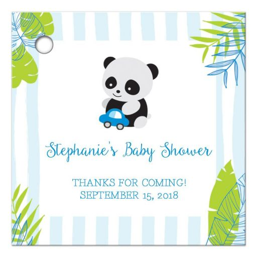 Tropical Panda Baby Shower Thank You Favor Gift Tags
