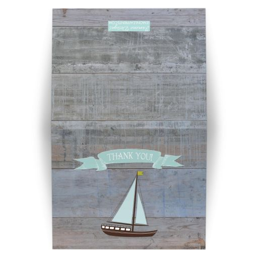 Rustic Nautical Wood Plank and Sailboat Thank You Card