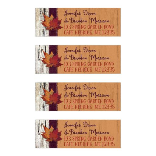 Personalized autumn leaves and burlap on faux wood return address mailing labels.