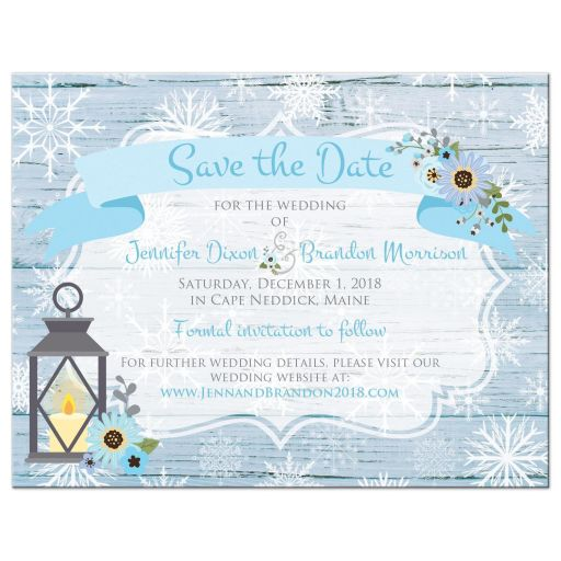 Rustic blue and white snowflakes winter wedding photo template save our date card with blue flowers, gray deer antlers, grey lantern, and wood.