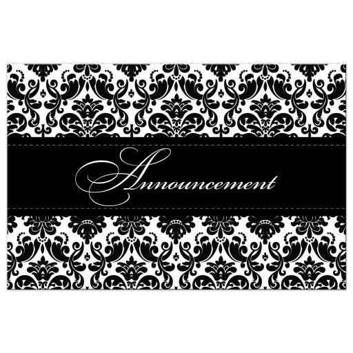 Black and white damask wedding cancellation card