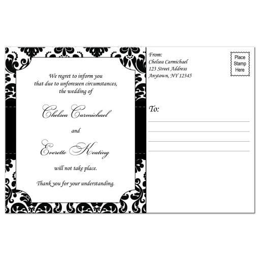 wedding cancellation post card