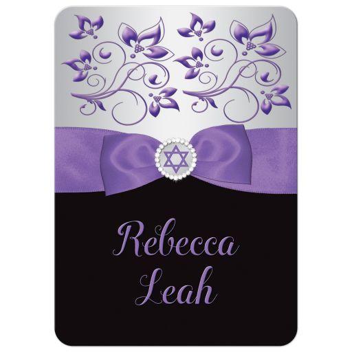 Black, silver gray, and purple Bat Mitzvah invitation with purple ribbon, bow, jewels, glitter, and Jewish Star of David on it.