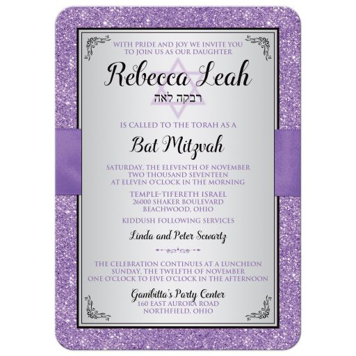 Black, silver grey, and purple Bat Mitzvah invite with purple ribbon, bow, jewels, glitter, and Jewish Star of David on it.