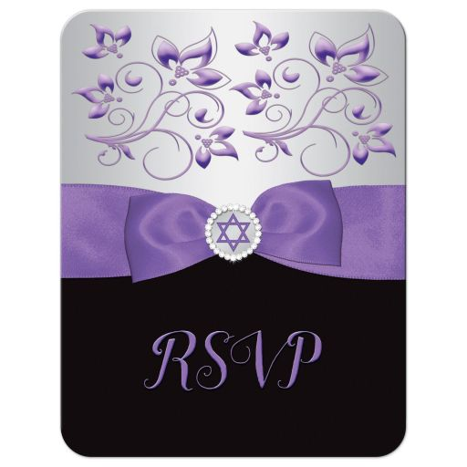 Black, silver grey, and purple Bat Mitzvah response enclosure card with purple ribbon, bow, jewels, glitter, and Jewish Star of David on it.