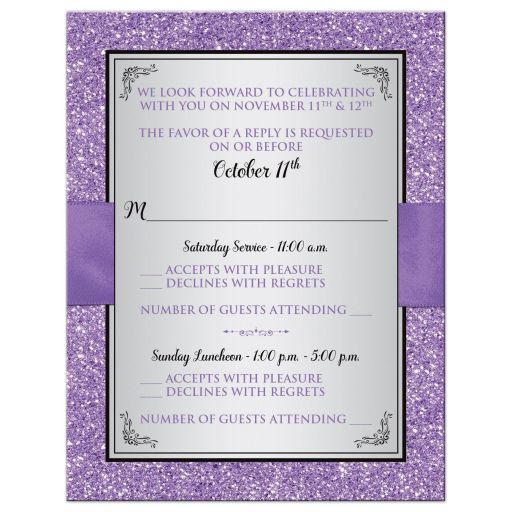 Black, silver gray, and purple Bat Mitzvah RSVP enclosure cards with purple ribbon, bow, jewels, glitter, and Jewish Star of David on it.