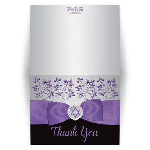 Black, silver gray, and purple Bat Mitzvah thank you card with purple ribbon, bow, jewels, glitter, and Jewish Star of David on it.