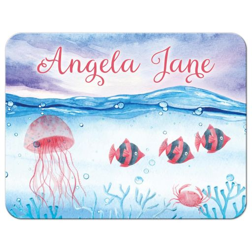 Under the sea Bat Mitzvah thank you card with ocean water, tropical fish, jellyfish and crab front